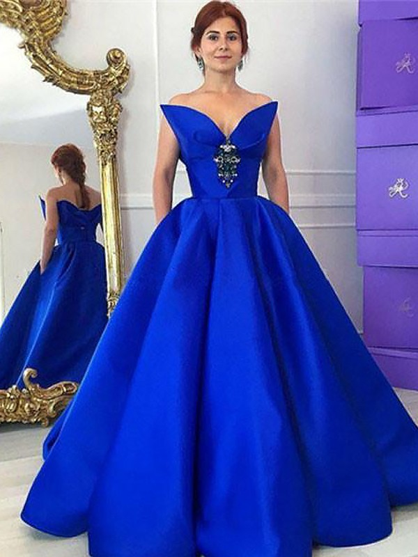 Ball Gown Sleeveless V-neck With Ruffles Floor-Length Satin Dresses