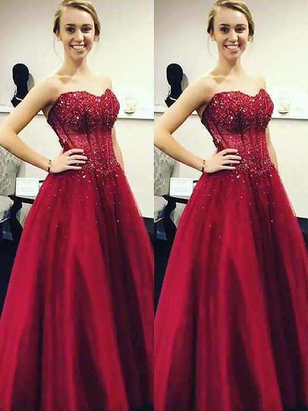 Ball Gown Sleeveless Sweetheart With Beading Floor-Length Satin Dresses