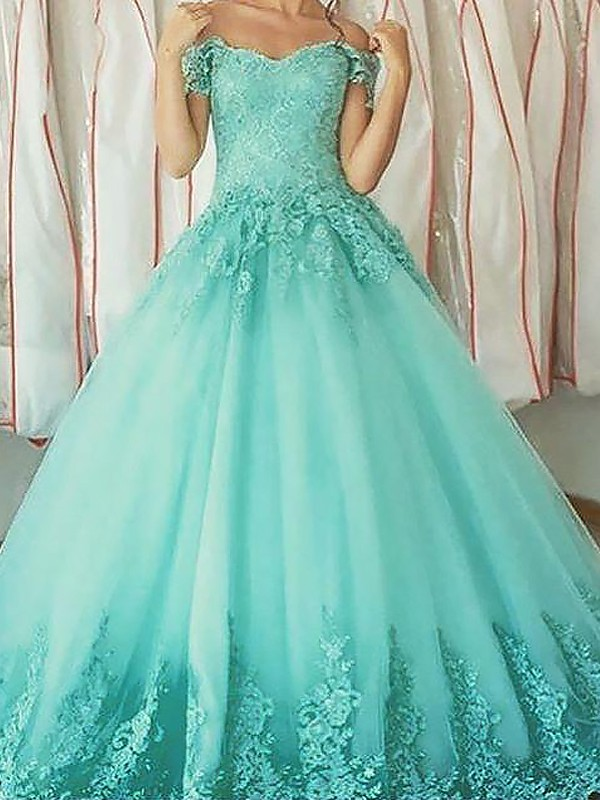 Ball Gown Sleeveless Off-the-Shoulder With Applique Floor-Length Tulle Dresses