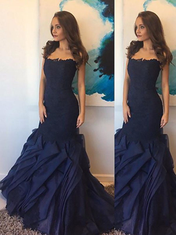 Mermaid Strapless Taffeta With Lace Sleeveless Floor-Length Dresses