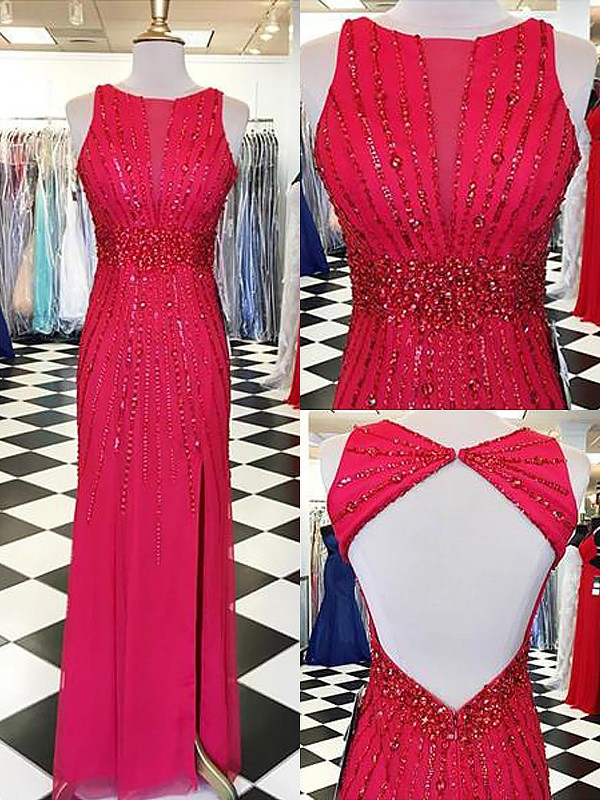 Sheath Bateau Sleeveless With Beading Floor-Length Chiffon Dresses
