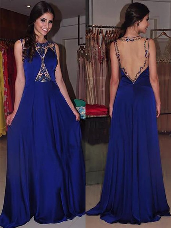 A-Line Bateau Sleeveless Sweep/Brush Train With Beading Chiffon Dresses
