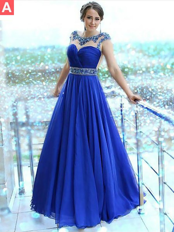 A-Line Bateau Sleeveless Floor-Length With Beading Chiffon Dresses
