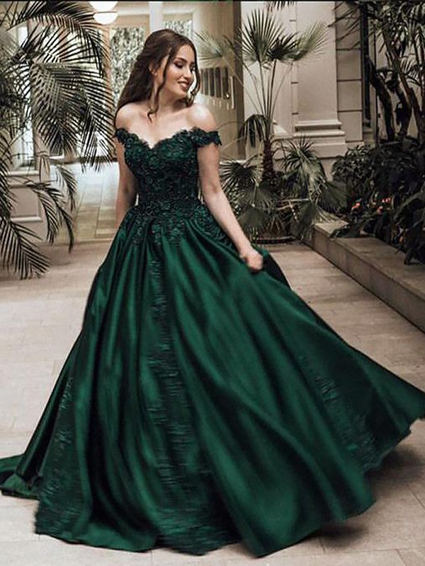 Ball Gown Off-the-Shoulder Sleeveless Floor-Length With Lace Satin Dresses