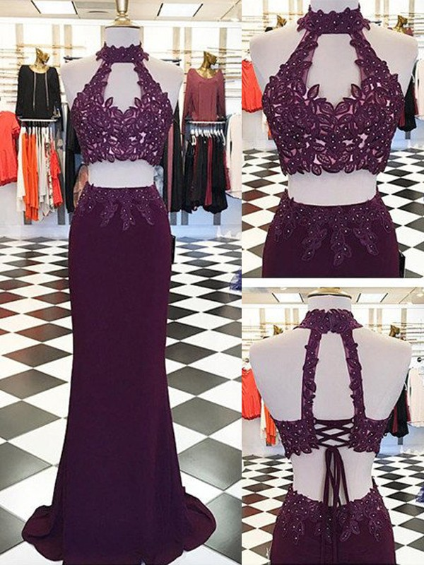 Sheath Chiffon Halter Sleeveless Floor-Length With Applique Two Piece Dresses