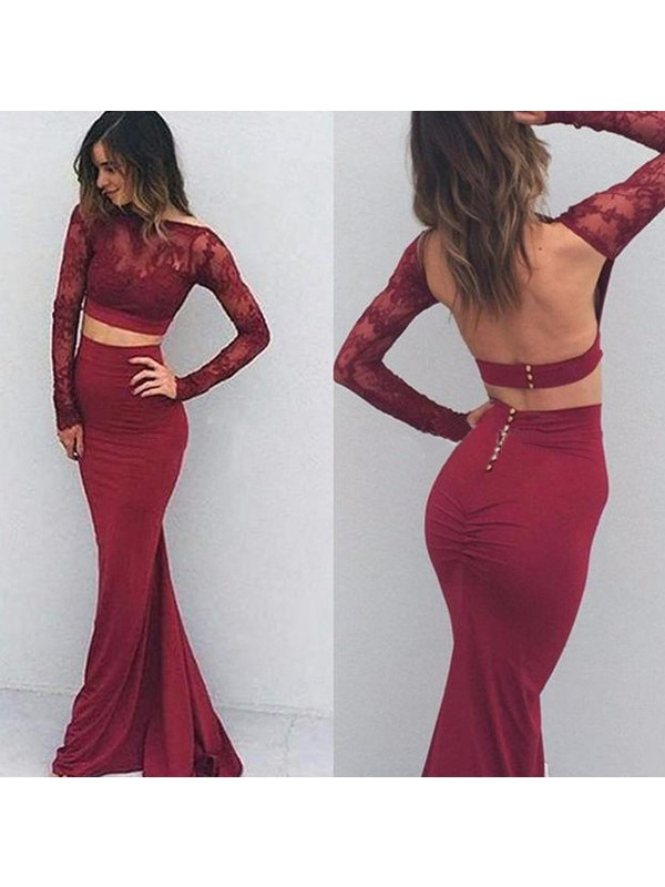 Mermaid Spandex Bateau Long Sleeves Floor-Length With Applique Dresses