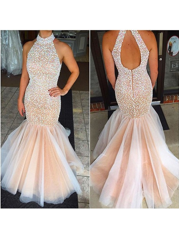 Mermaid Tulle Halter Sleeveless Sweep/Brush Train With Beading Dresses