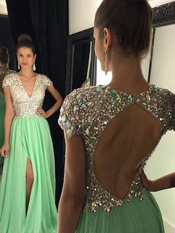 A-Line Chiffon V-neck Short Sleeves Floor-Length With Sequin Dresses