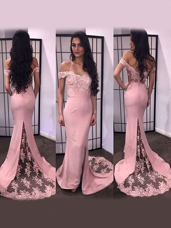 Mermaid Satin Off-the-Shoulder Long Sleeves Sweep/Brush Train With Lace Dresses