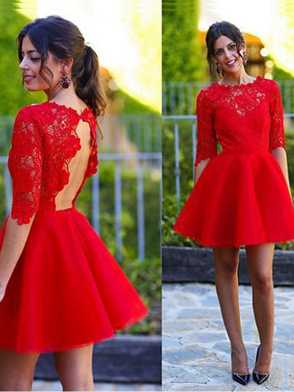 A-Line Lace Scoop 1/2 Sleeves Short/Mini With Lace Dresses