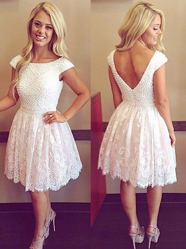 A-Line Lace Scoop Short Sleeves Short/Mini With Pearls Dresses
