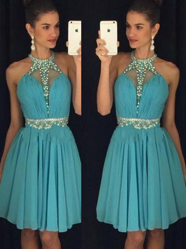 A-Line Chiffon Halter Sleeveless Short/Mini With Beading Dresses