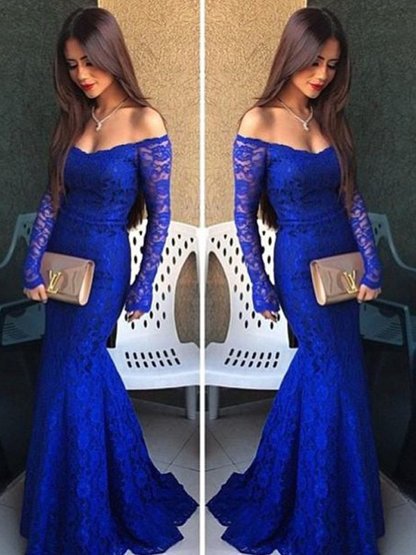 Mermaid Lace Off-the-Shoulder Long Sleeves Sweep/Brush Train With Lace Dresses
