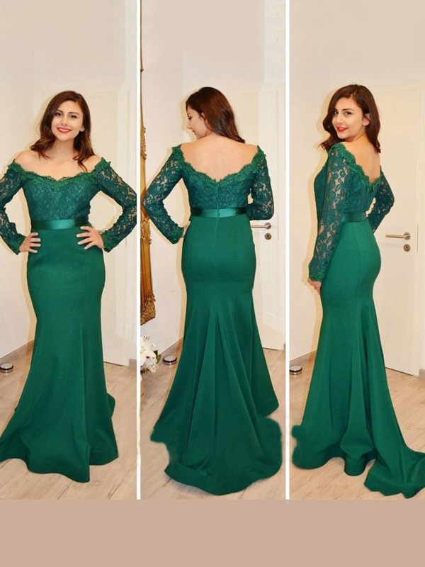 Mermaid Satin Off-the-Shoulder Long Sleeves Sweep/Brush Train With Applique Dresses