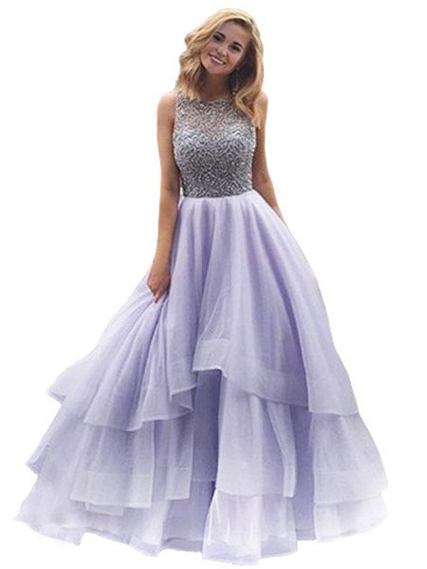 Ball Gown Organza Scoop Sleeveless Floor-Length With Beading Dresses