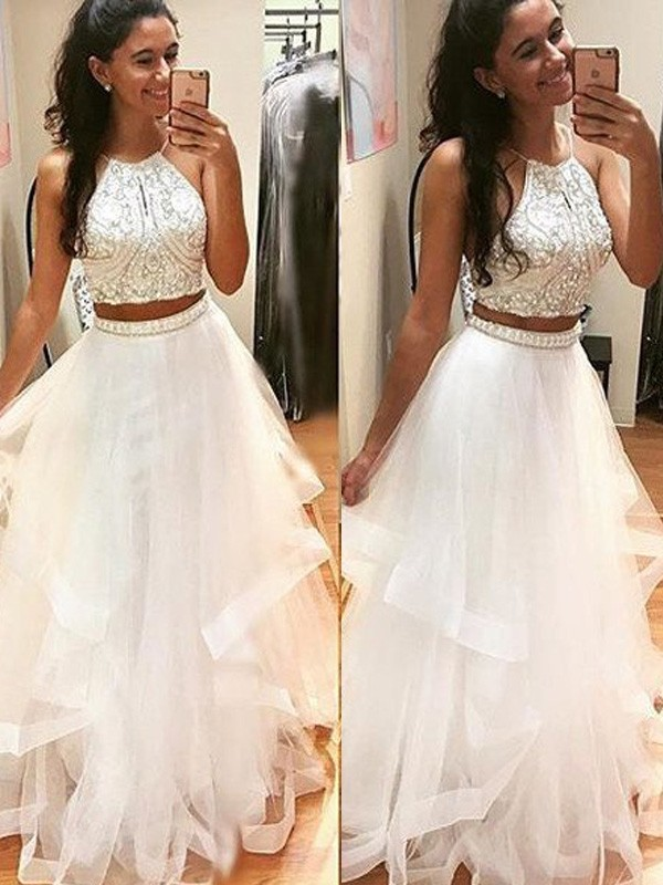 A-Line Tulle Halter Sleeveless Floor-Length With Beading Dresses