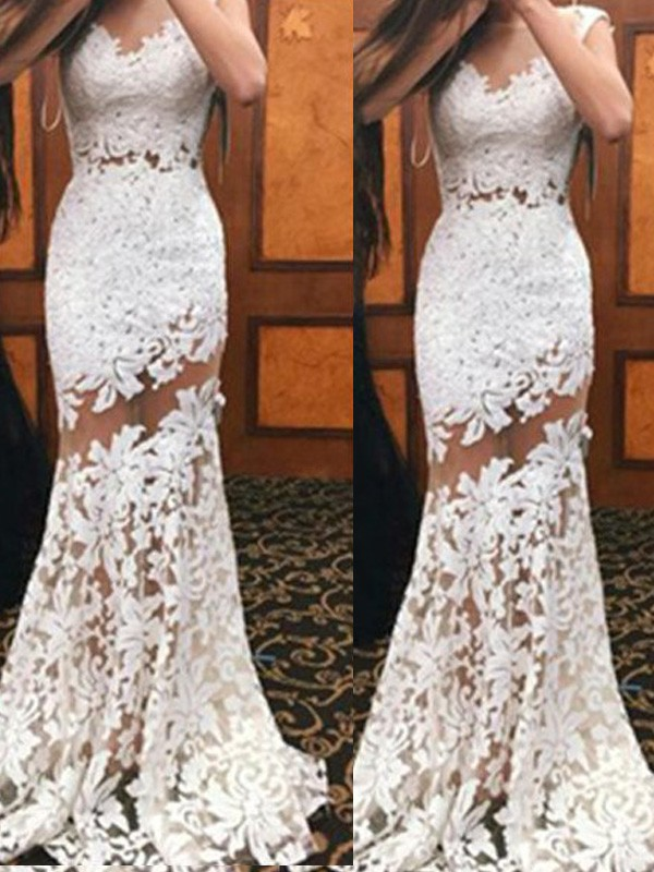 Mermaid Lace Scoop Sleeveless Sweep/Brush Train With Lace Dresses