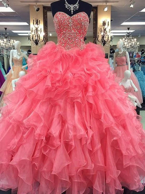 Ball Gown Organza Sweetheart Sleeveless Floor-Length With Beading Dresses