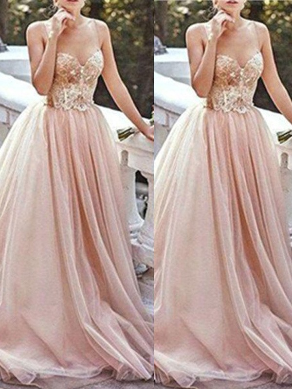 A-Line Tulle Sweetheart Sleeveless Sweep/Brush Train With Beading Dresses