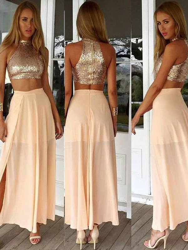 A-Line Chiffon High Neck Sleeveless Ankle-Length With Sequin Dresses