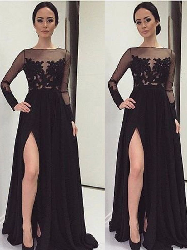 A-Line Chiffon Bateau Long Sleeves Floor-Length With Lace Dresses