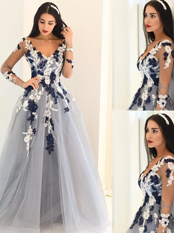 A-Line Tulle V-neck Long Sleeves Floor-Length With Applique Dresses