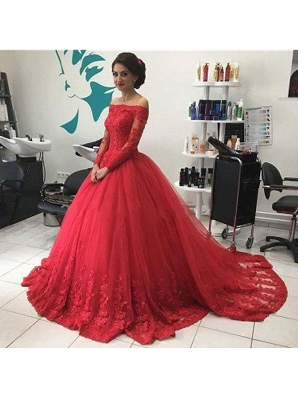 Ball Gown Tulle Off-the-Shoulder Long Sleeves Court Train With Lace Dresses