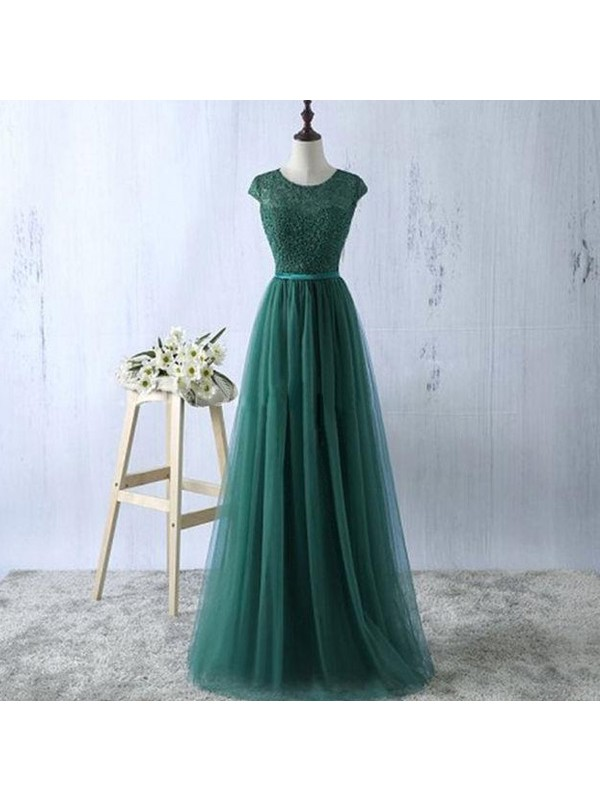 A-Line Tulle Scoop Sleeveless Floor-Length With Lace Dresses