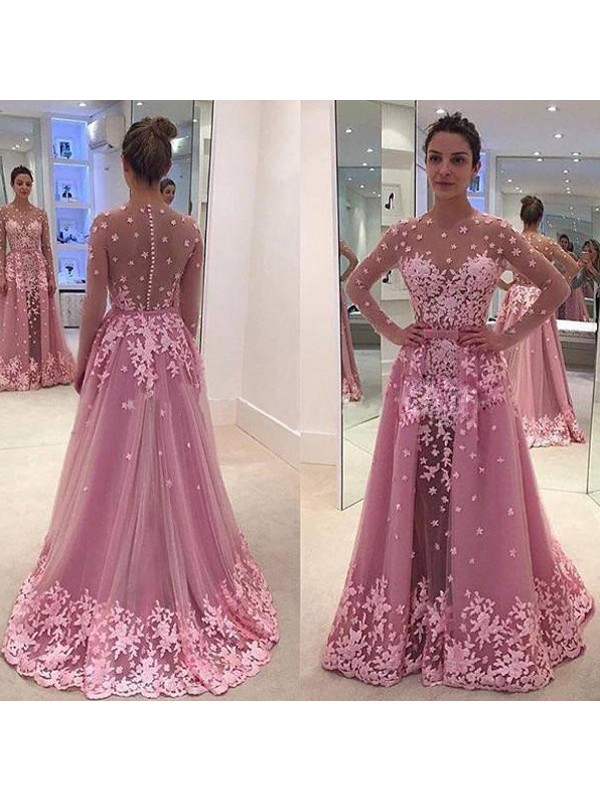 A-Line Tulle Scoop Long Sleeves Floor-Length With Applique Dresses