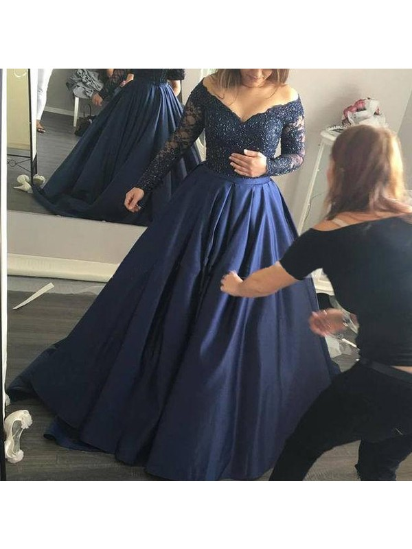 Ball Gown Satin Off-the-Shoulder Long Sleeves Sweep/Brush Train With Beading Dresses