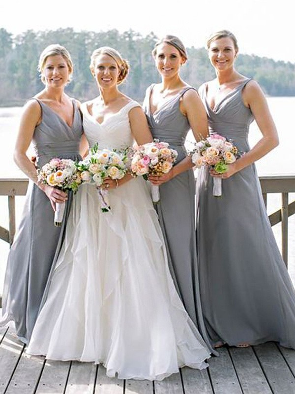 2380696ed1 A-Line Chiffon V-neck Sleeveless Floor-Length With Ruched Bridesmaid Dresses