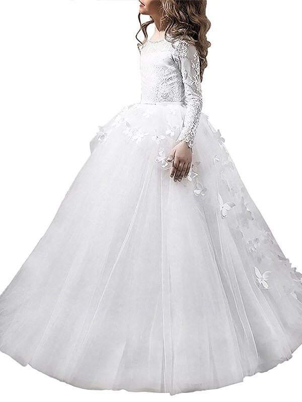 Ball Gown Tulle Scoop Long Sleeves Floor-Length With Lace Flower Girl Dresses