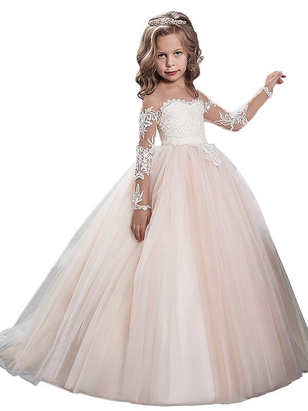 d8e58a6f62 Ball Gown Tulle Scoop Long Sleeves Sweep Brush Train With Lace Flower Girl  Dresses