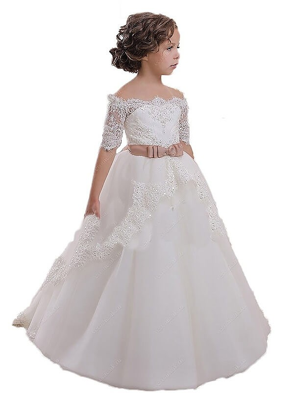 19082f2adb Ball Gown Tulle Off-the-Shoulder Short Sleeves Sweep/Brush Train With Sash