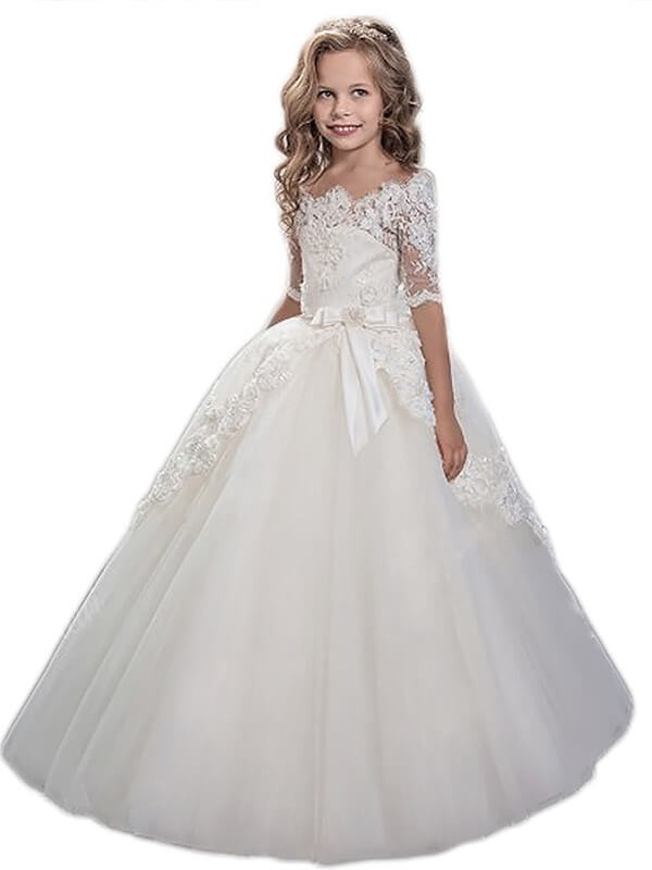 Ball Gown Tulle Off-the-Shoulder Short Sleeves Floor-Length With Applique Flower Girl Dresses