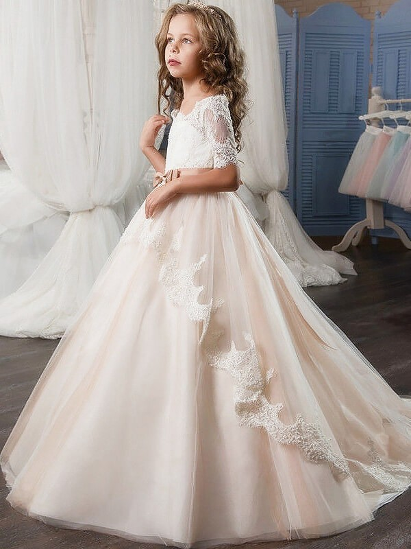 Ball Gown Tulle Off-the-Shoulder Short Sleeves Floor-Length With Sash/Ribbon/Belt Flower Girl Dresses