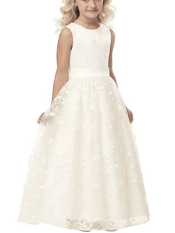 A-Line Tulle Scoop Sleeveless Floor-Length With Applique Flower Girl Dresses