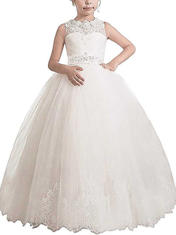Ball Gown Tulle Scoop Sleeveless Floor-Length With Sash/Ribbon/Belt Flower Girl Dresses