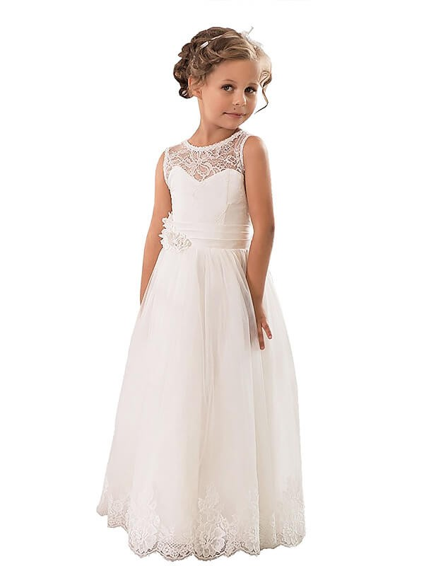 A-Line Tulle Scoop Sleeveless Floor-Length With Lace Flower Girl Dresses
