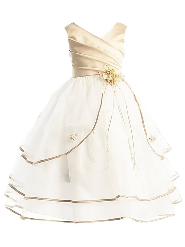 A-Line Tulle V-neck Sleeveless Ankle-Length With Layers Flower Girl Dresses