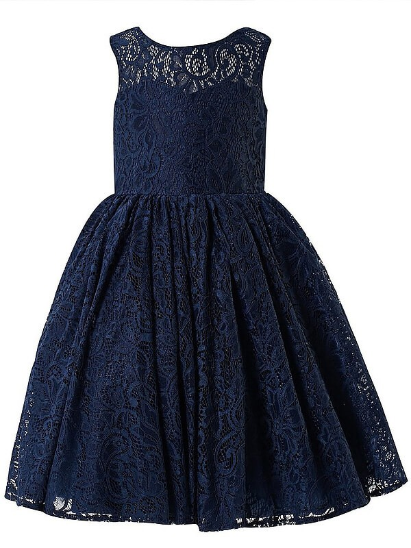 A-Line Lace Scoop Sleeveless Tea-Length With Ruffles Flower Girl Dresses