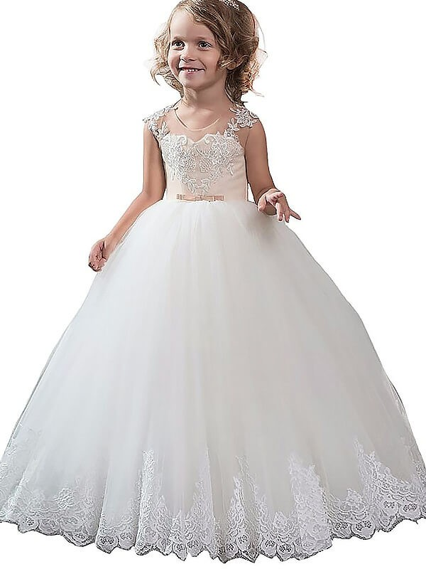 Ball Gown Tulle Scoop Sleeveless Floor-Length With Applique Flower Girl Dresses