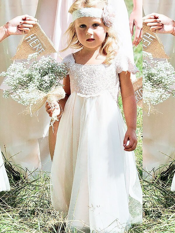 A-Line Chiffon Square Short Sleeves Floor-Length With Lace Flower Girl Dresses