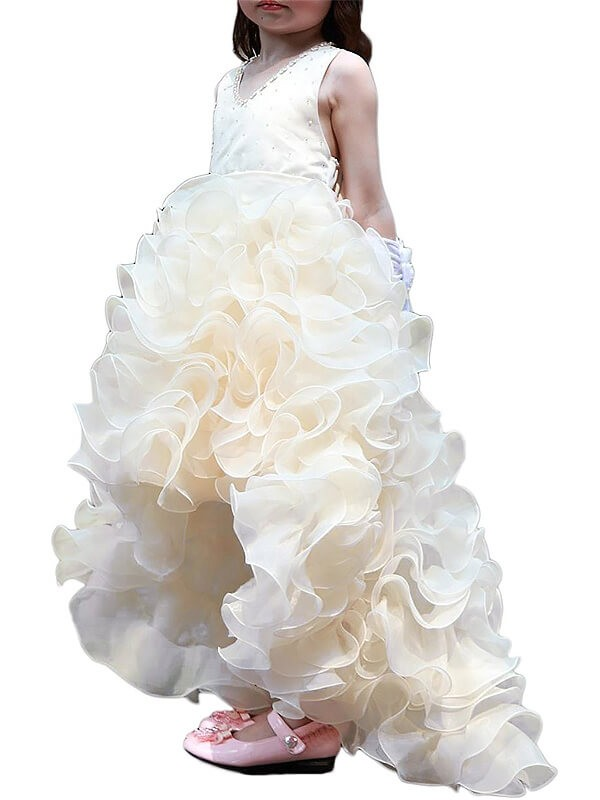 A-Line Organza V-neck Sleeveless Asymmetrical With Ruffles Flower Girl Dresses