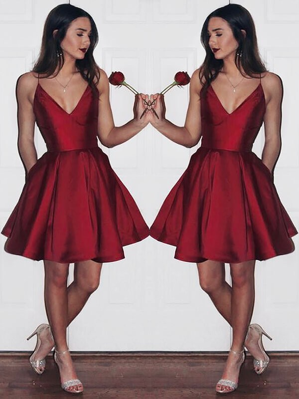 A-Line Satin V-neck Sleeveless Short/Mini With Ruffles Dresses