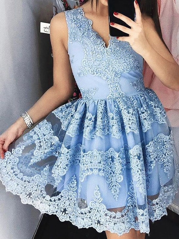 A-Line Lace V-neck Sleeveless Short/Mini With Ruffles Dresses