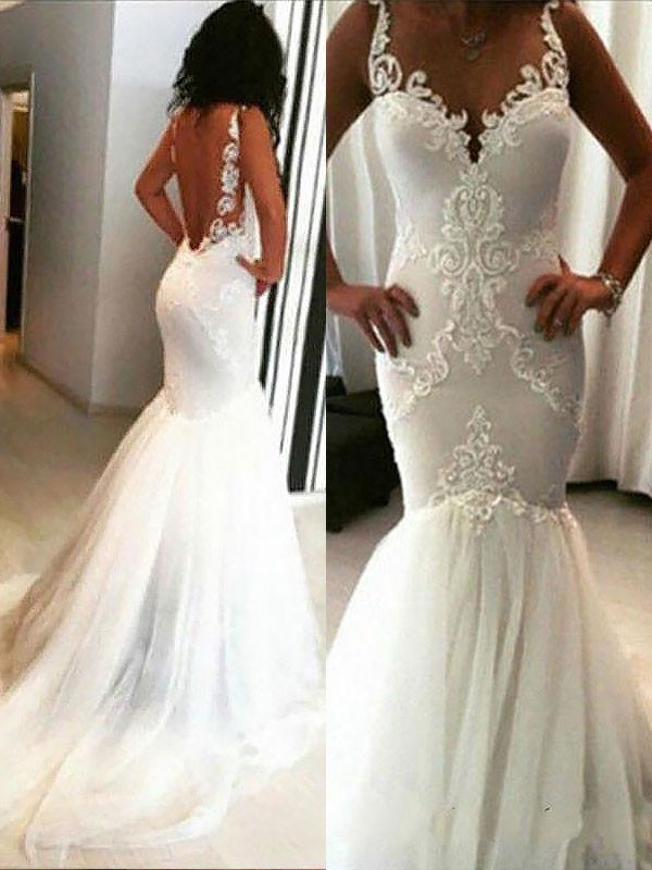 Mermaid Chapel Train With Applique Spaghetti Straps Sleeveless Tulle Wedding Dresses