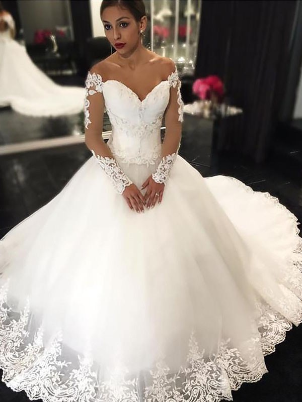 Ball Gown With Applique Long Sleeves Tulle Off-the-Shoulder Court Train Wedding Dresses