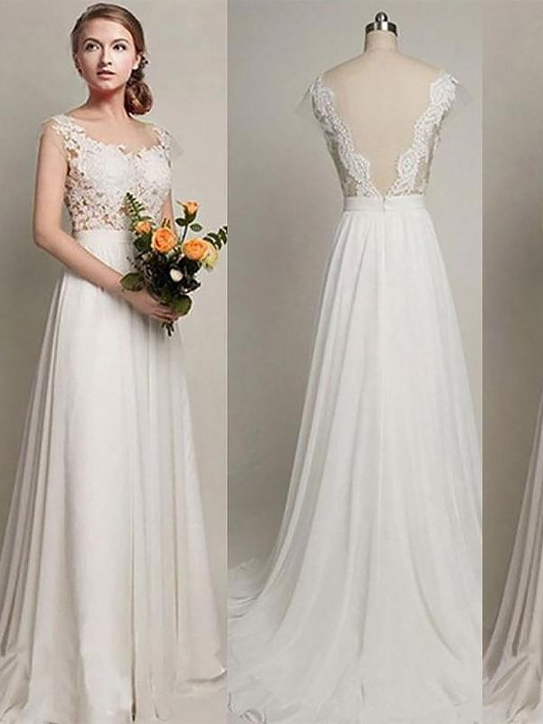 A-Line Chiffon Scoop Sleeveless Sweep/Brush Train Wedding Dresses