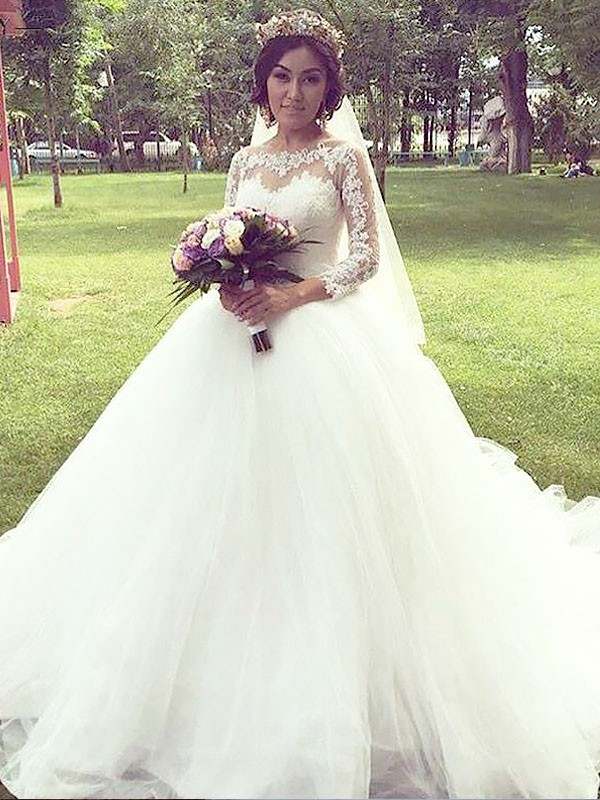 Ball Gown Tulle Long Sleeves Bateau Court Train Wedding Dresses